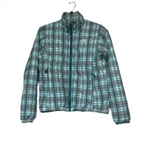 The North Face Green Plaid Quilted Puffer Jacket